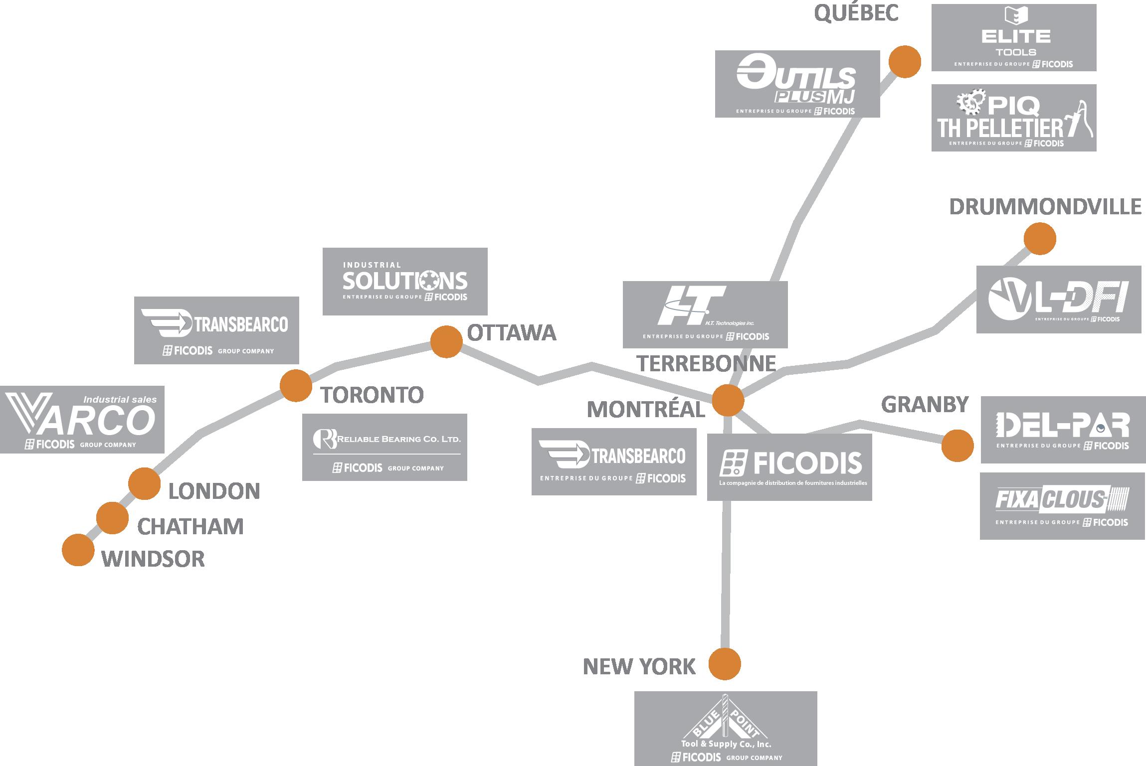 Carte des détaillants